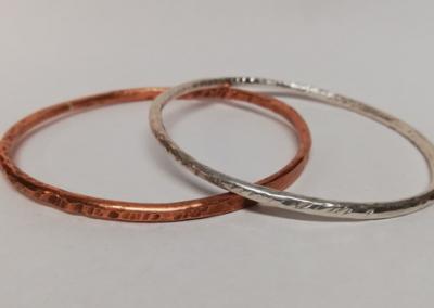 Silver and copper Bangle 1