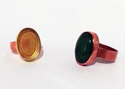 Rings before and after stone setting