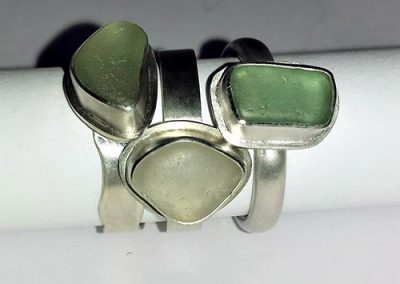 Sea glass set in to a silver ring