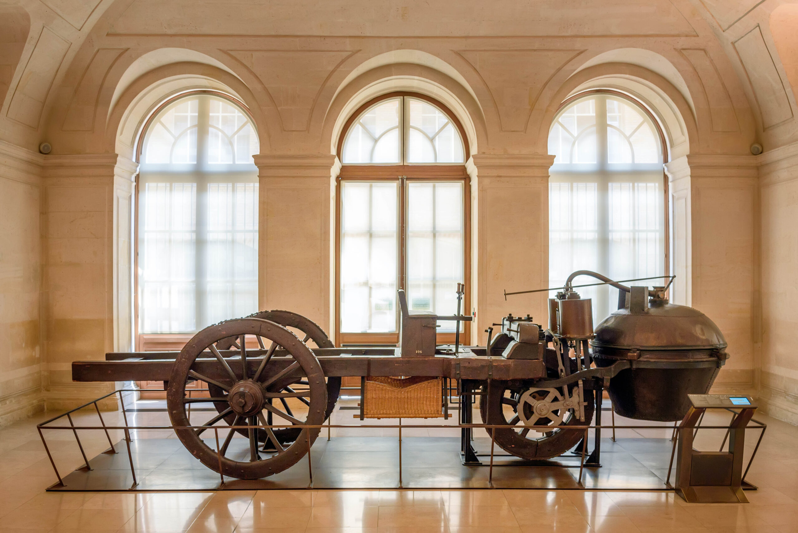 World's first automobile – Fardier à vapeur a steam dray.