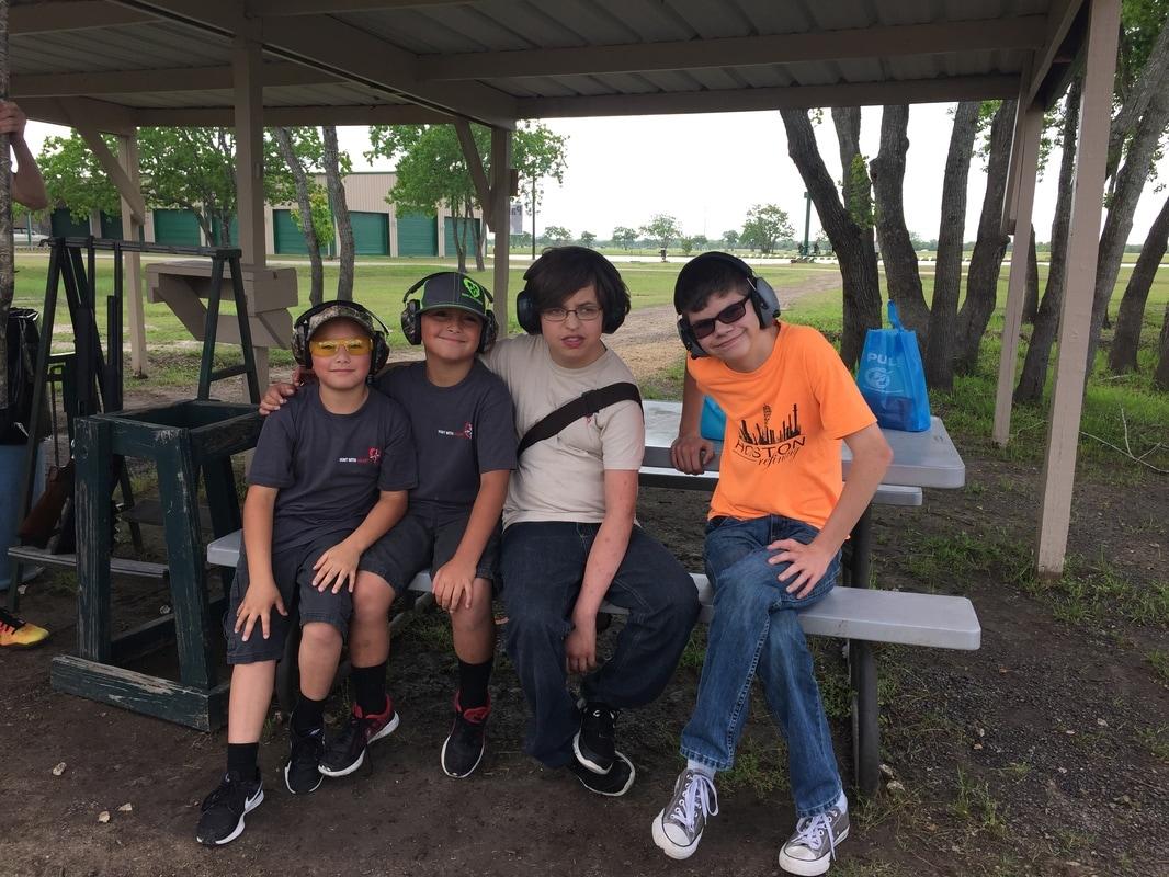 Kids at Shooting clay
