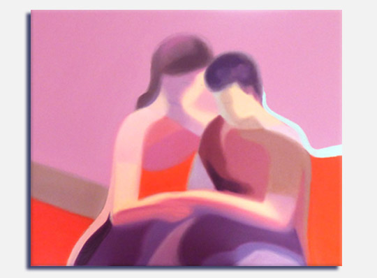 Semi abstract oil painting of a young couple, title Certain