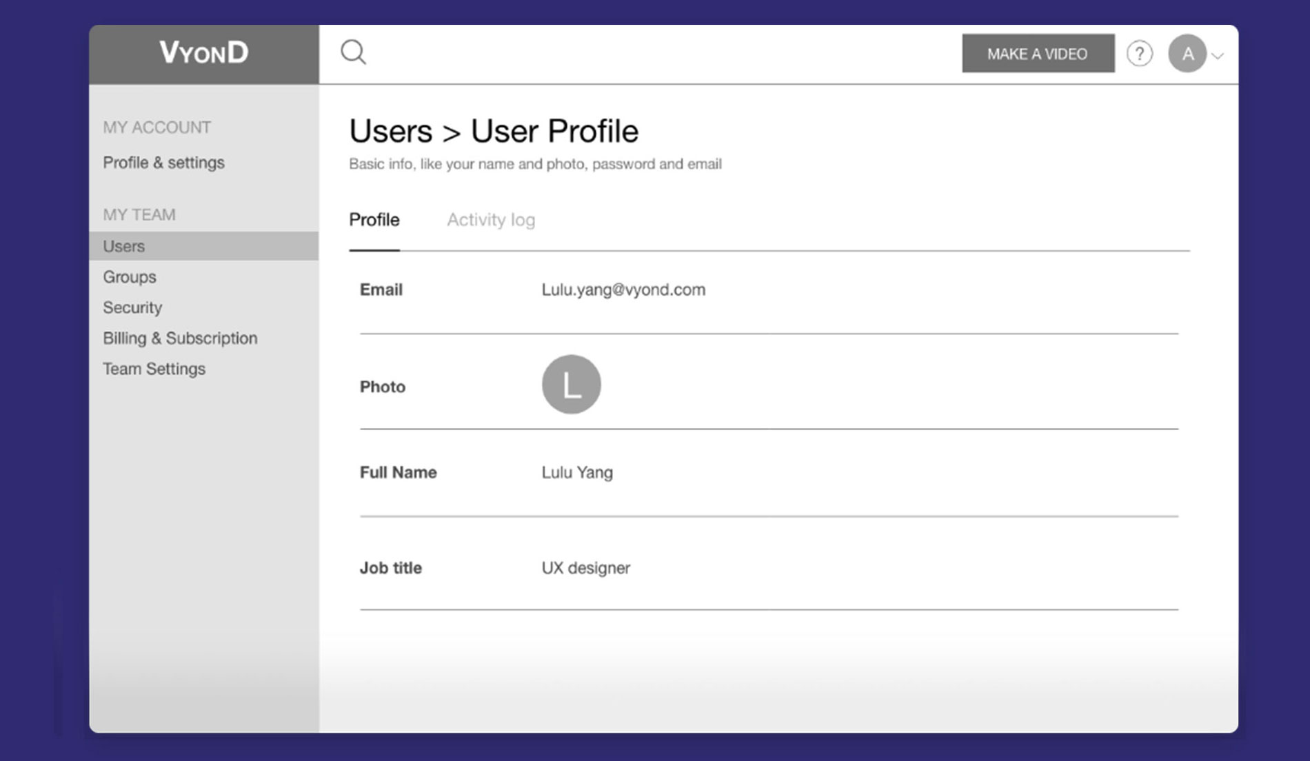 """Team administrator could view a member's profile and activities by going to the """"User"""" category"""