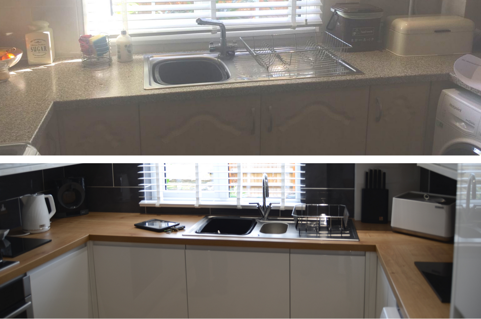 Kitchen installation before and after