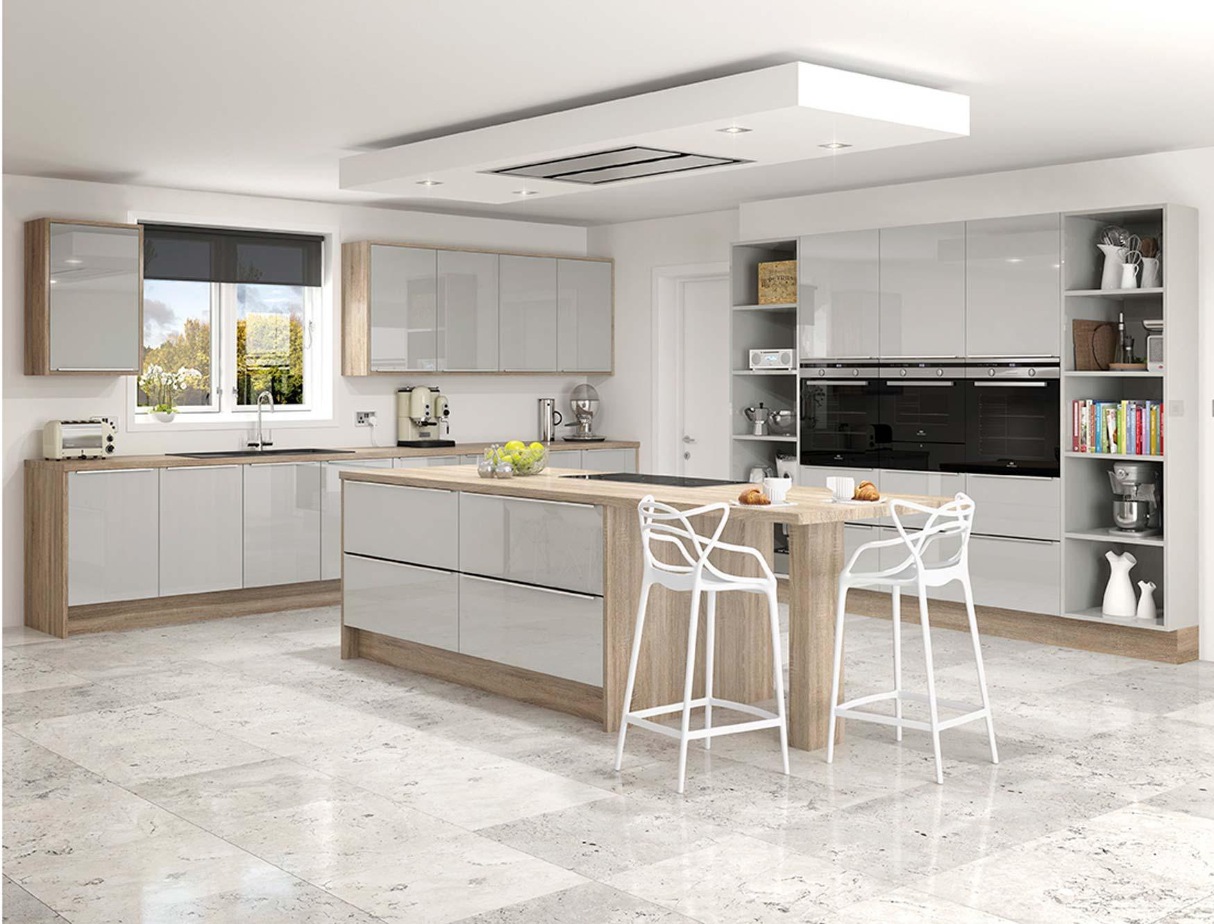 Linea Gloss Grey Mist Kitchen