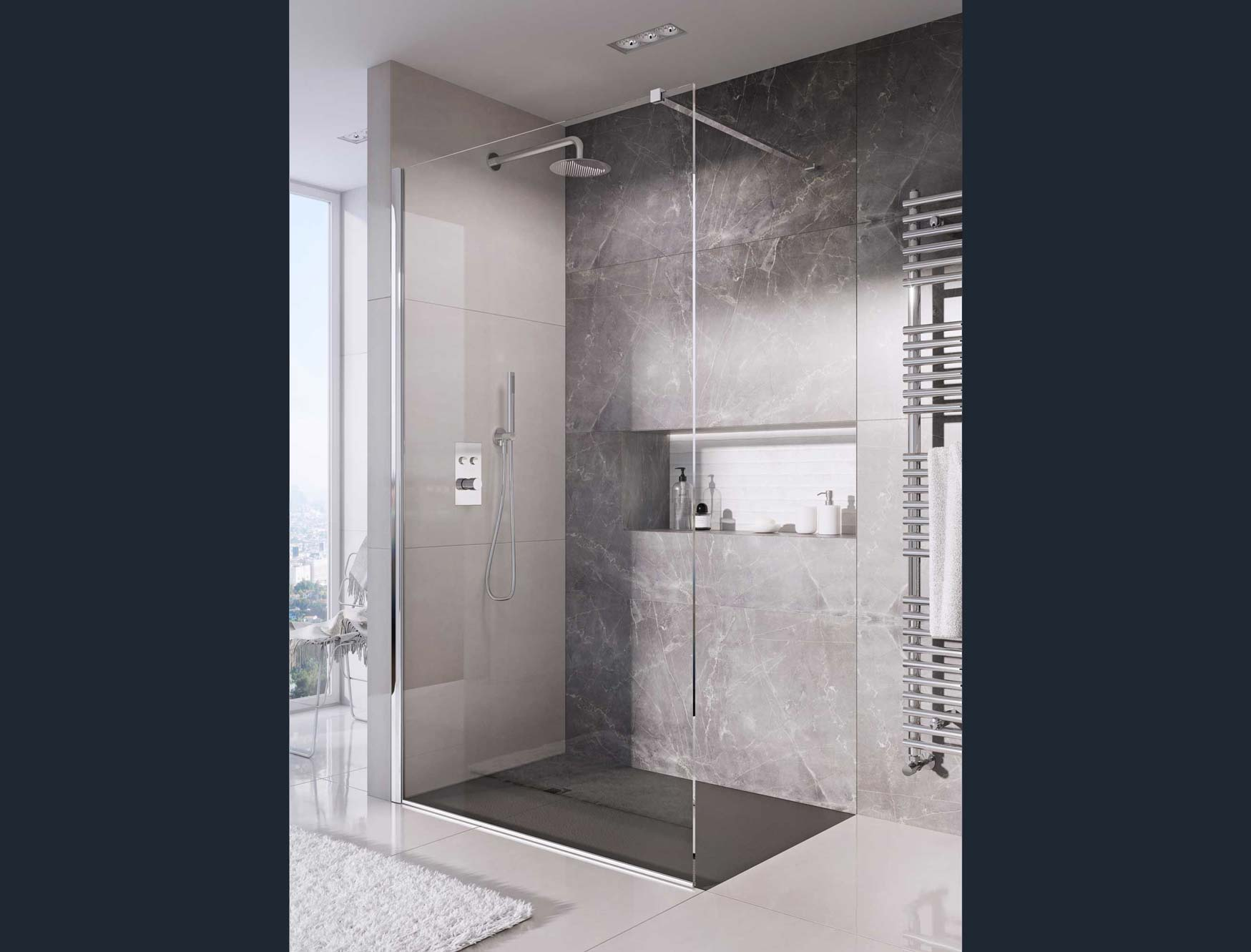Providing a clean and minimalist finish for the bathroom. This designer shower tray has been made with a natural stone resin, complete with a gel coat slate textured finish, providing excellent durability and anti-bacterial properties, as well as a grade three anti-slip rating.