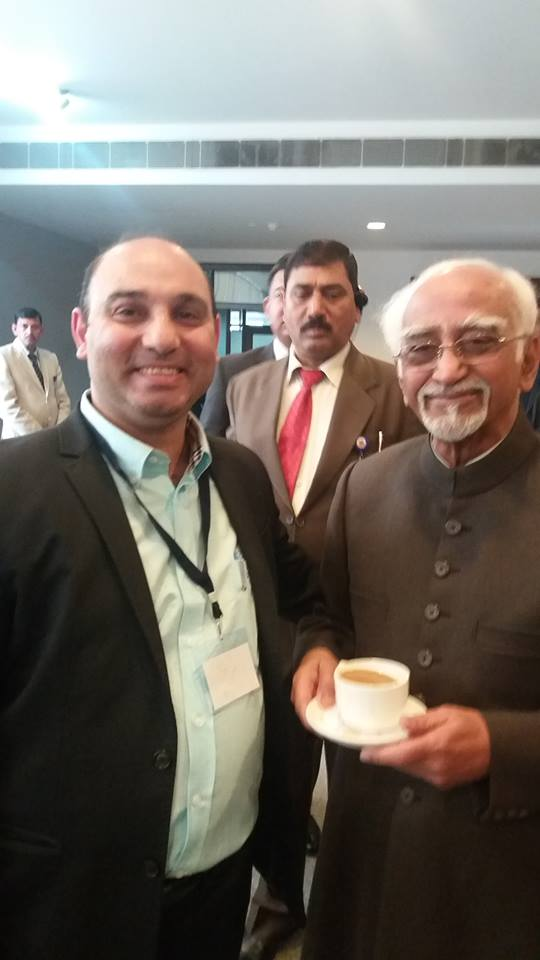 Indian Vice President Mohammed Hamid Ansari with Dr. Haytham Mouzahem, Editor in Chief of The Levant News
