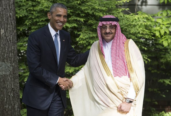 Saudi Crown Prince Mohammed bin Nayef with President Obama at Camp David in May. Credit Nicholas Kamm/Agence France-Presse — Getty Images