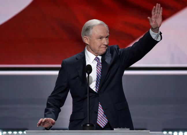 U.S. Senator Jeff Sessions (R-AL) waves to the crowd as he speaks at the Republican National Convention in Cleveland, Ohio, U.S. July 18, 2016. REUTERS/Mike Segar/File Photo