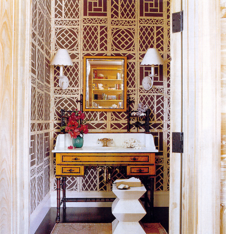 Tom Scheerer design. Lyford trellis wallpaper