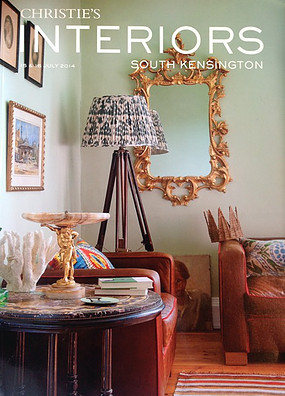 Susan Deliss ikat lampshade featured on cover of Christies South Kensington interiors magazine, July 2014
