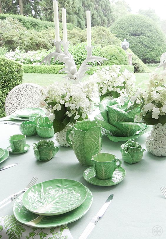 Tory Burch's collection of original Dodie Thayer lettuce ware.