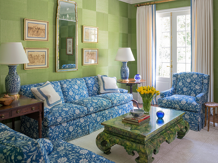 Atlanta home by Phoebe Howard. Verrieres fabric by Brunschwig & Fils