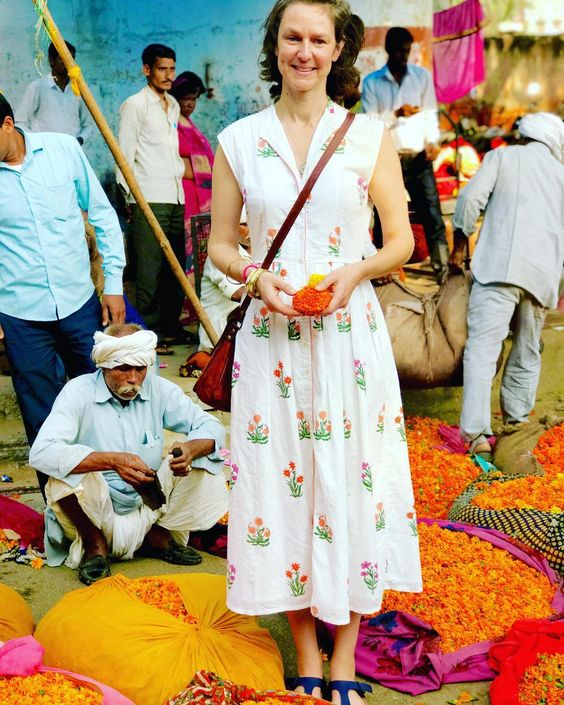 Molly Mahon at the Jaipur flower market wearind Day Dress