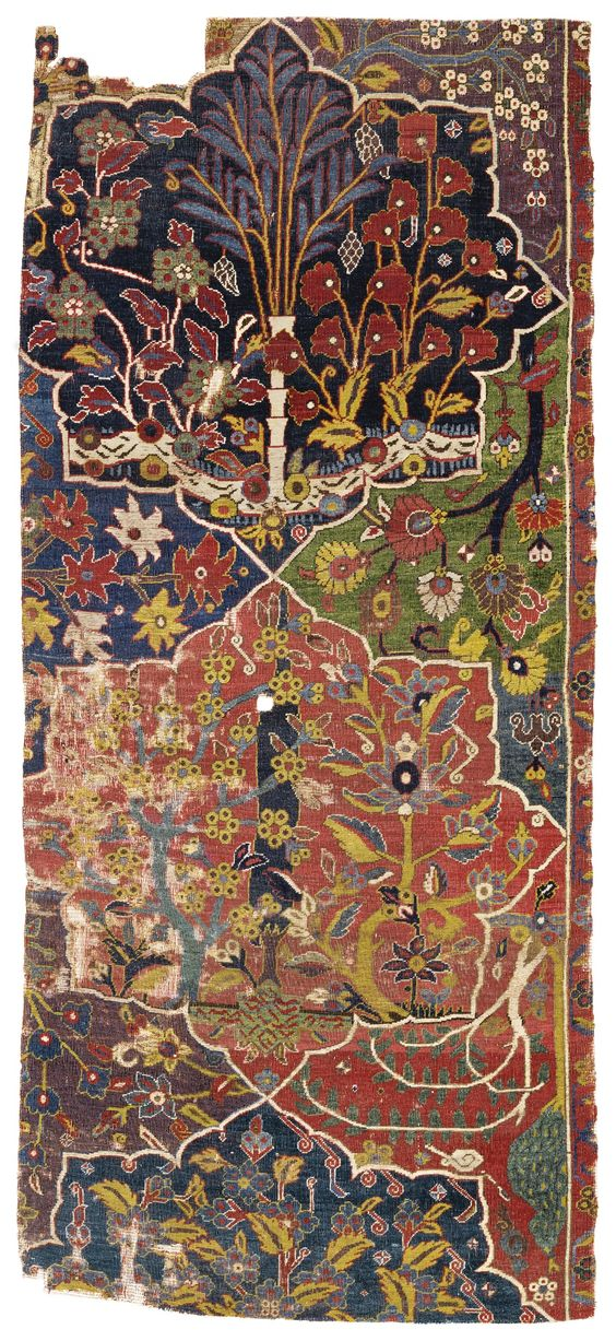 Fragment from the Von Hirsch Garden Carpet. Northwest Persia, 17th century. Howard Hodgkin's collection.