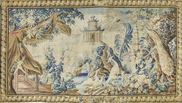 Exotic Chinoiserie landscape tapestry. France, Aubusson. Mid 18th century.