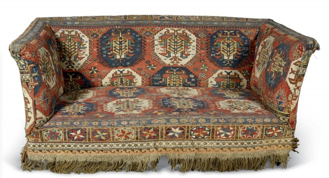 Upholstered sofa. East Caucasus. The Soumakh circa 1870. The sofa victorian.