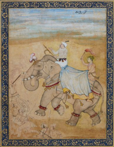 'Emperor Akbar Riding an elephant on a hunting expedition' Mughal, early 17th century