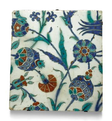 Iznik Pottery tile with pomegranates. Turkey, c.1580-1620