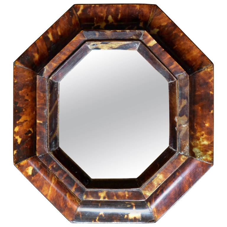 Antique Sicilian Tortoiseshell Framed Mirror