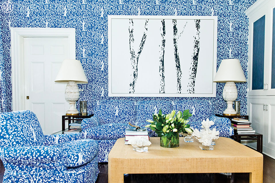 Tory Burch's 'Blue Room' covered in Arbre de Matisse fabric by Quadrille