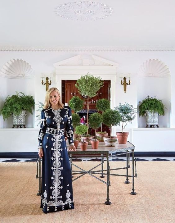 Tory Burch in her Southampton home. Topiary galore