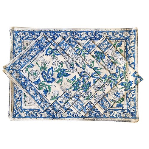 Hollyhock placemat and napkin set - India Amory
