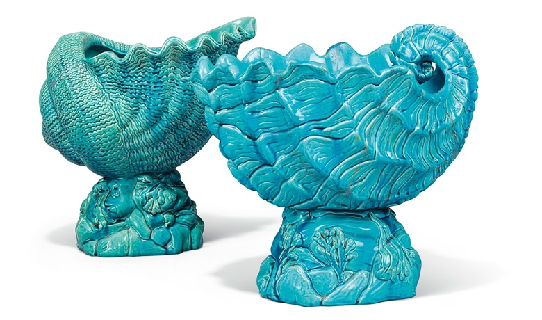 A pair of Bermantofts faience turquoise-glazed shell jardinières, late 19th century