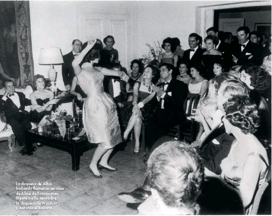 Cayetana, Duchess of Alba, dancing flamenco at Countess of Romanones's Madrid residence. Aline was hosting a party for her friend Wallis,  Duchess of Windsor.