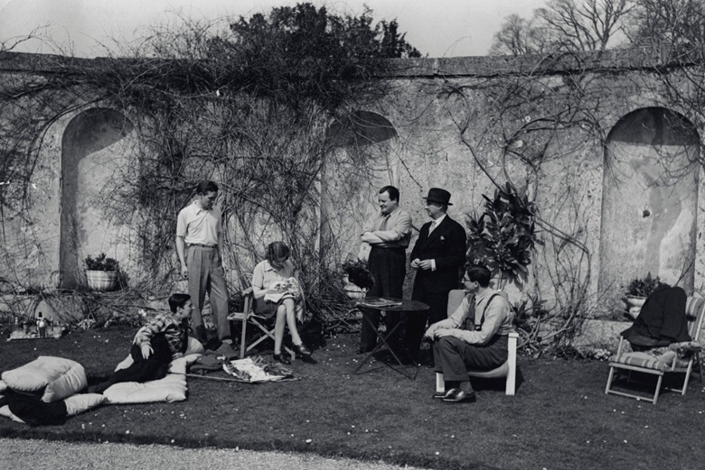 Easter 1939 at Faringdon. From left: Frederick Ashton, Robert Heber-Percy, Lady Mary Lygon, Constant Lambert, Lord Berners, Prince Vsevolod of Russia