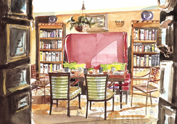 Emma Burns designed a delightful and inviting dining room in London using an eclectic mix of furniture, richcolors, charming objects and paintings. The variety of chairs adds to the interest of the room. Illustration by Mita Corsini Bland.