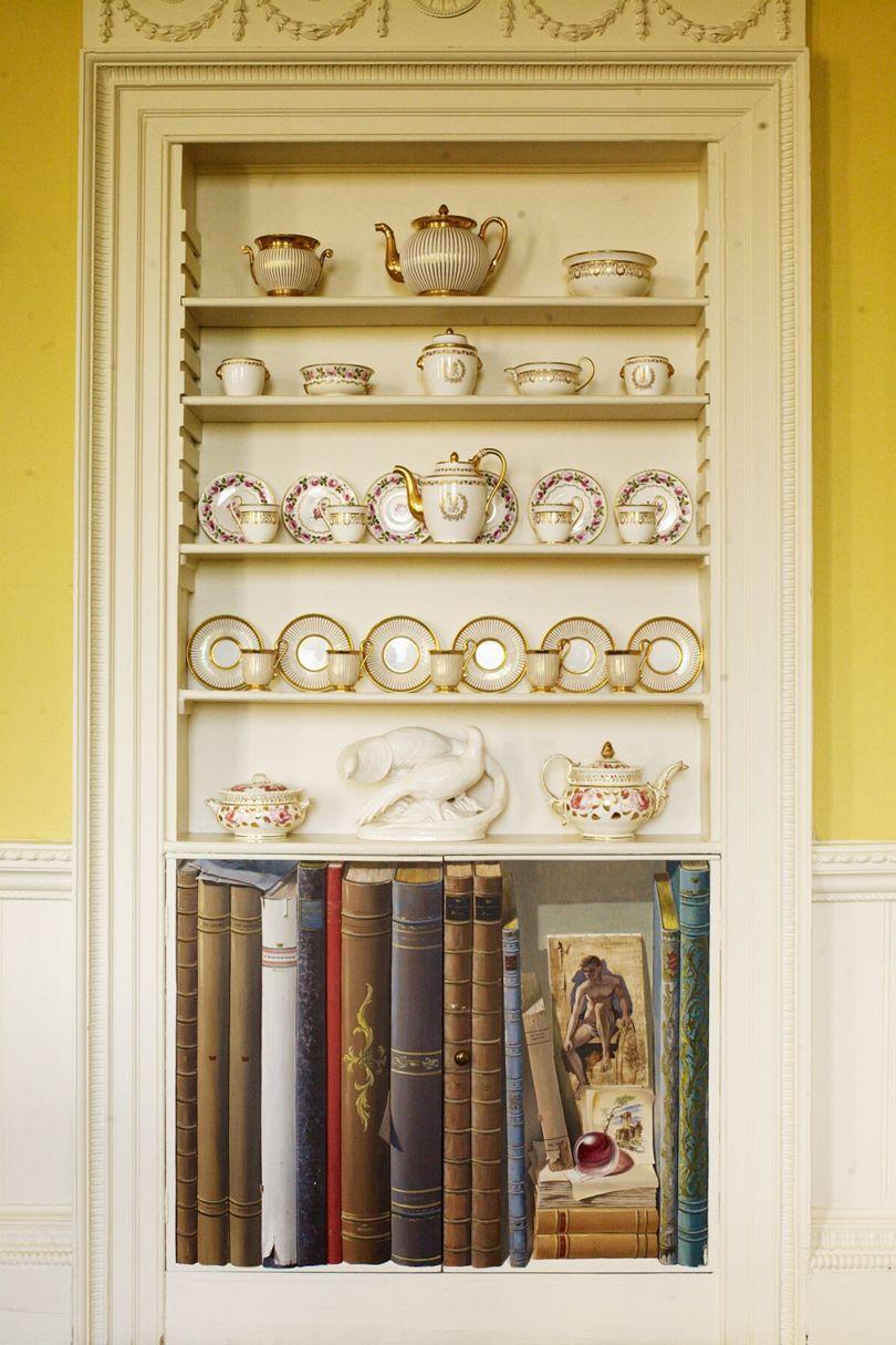 Faringdon House - Elaborately decorated shelving displays delicate china