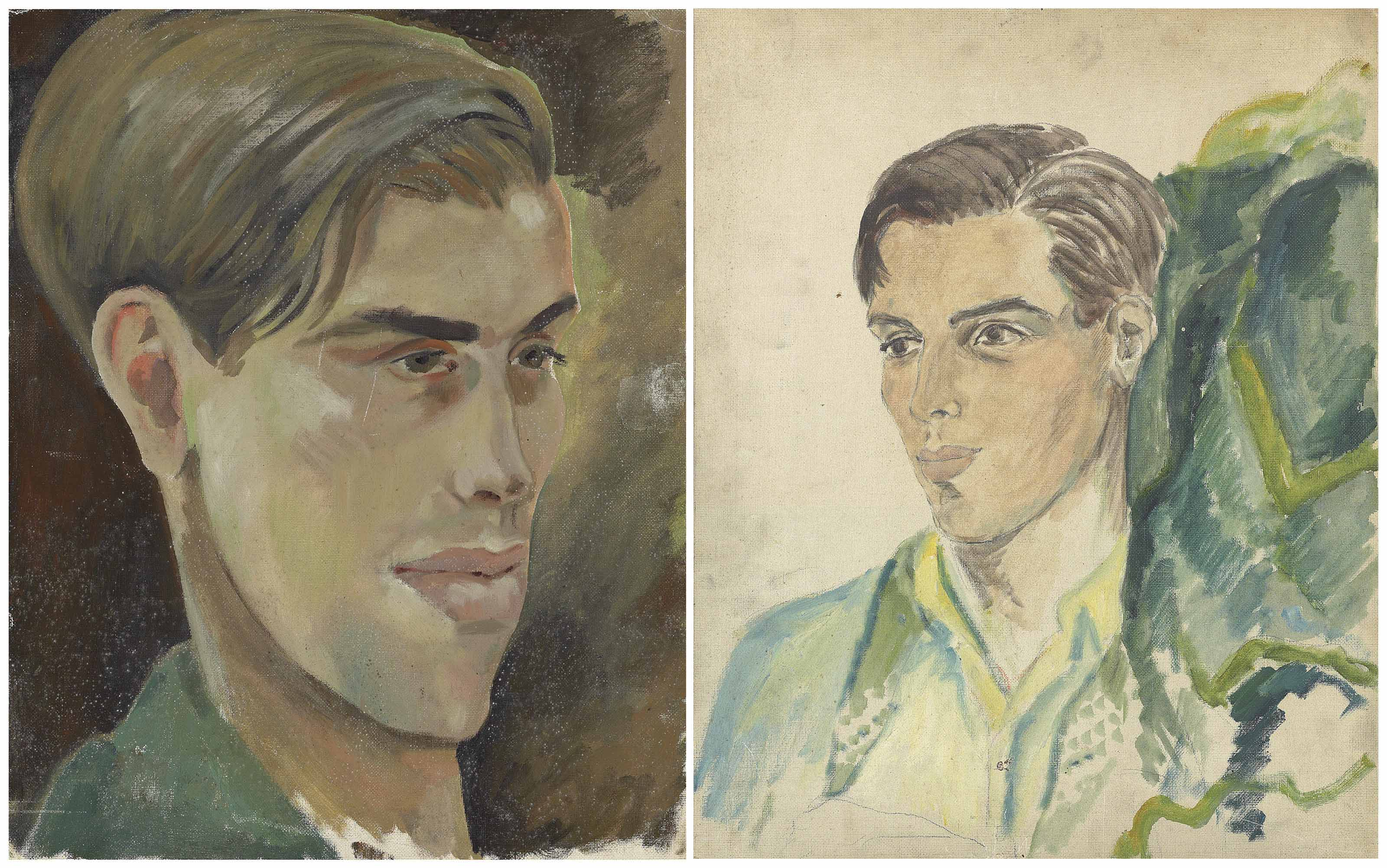 Two portraits of Robert Heber Percy, Lord Berners, oil on canvas-board