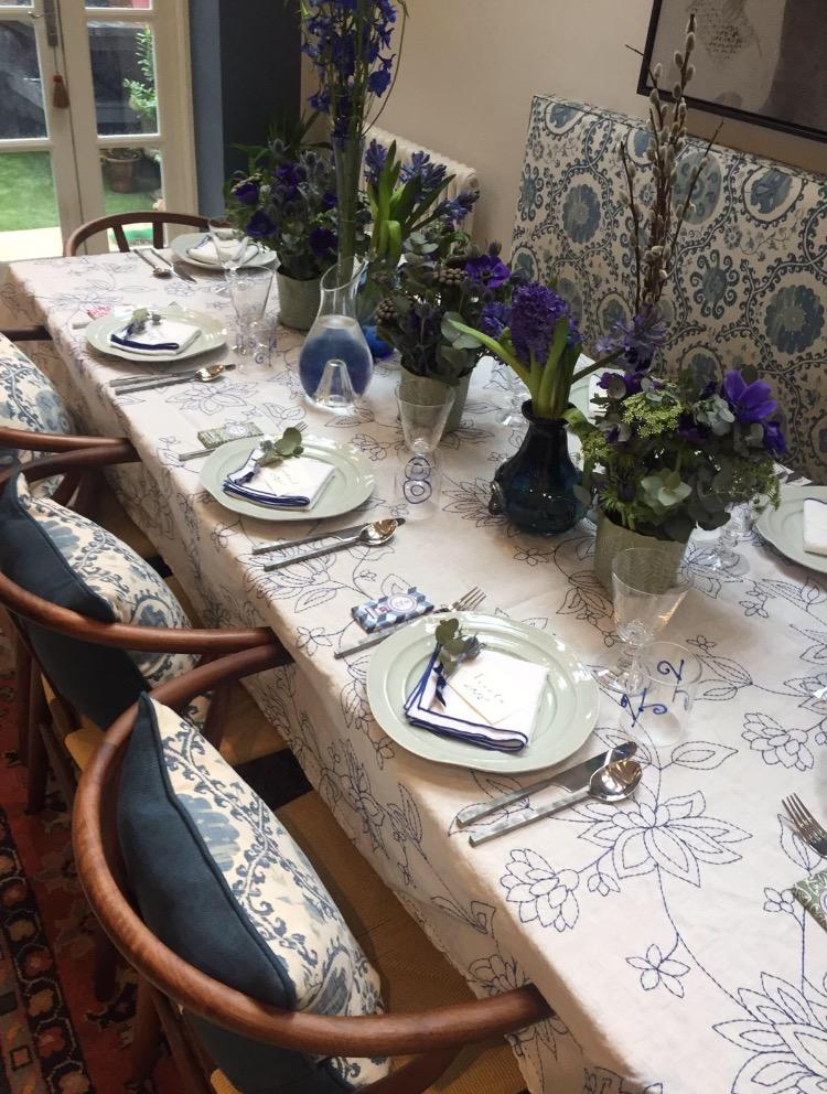 stunning table setting by Maria Castellanos for Rococo interiors 's last networking  lunch at home.