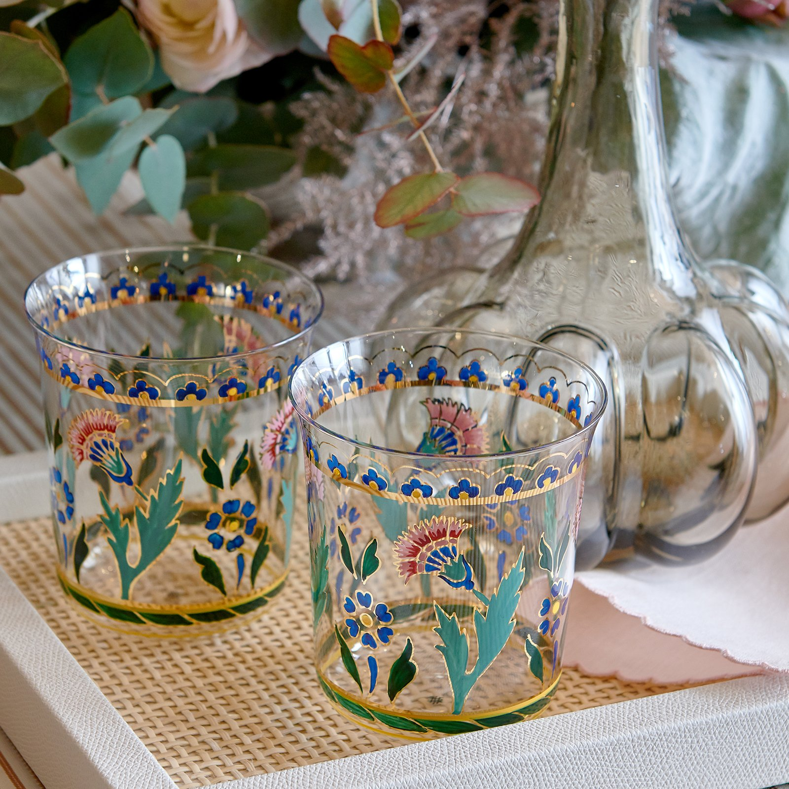 Lobmyr persian flower handpainted glasses