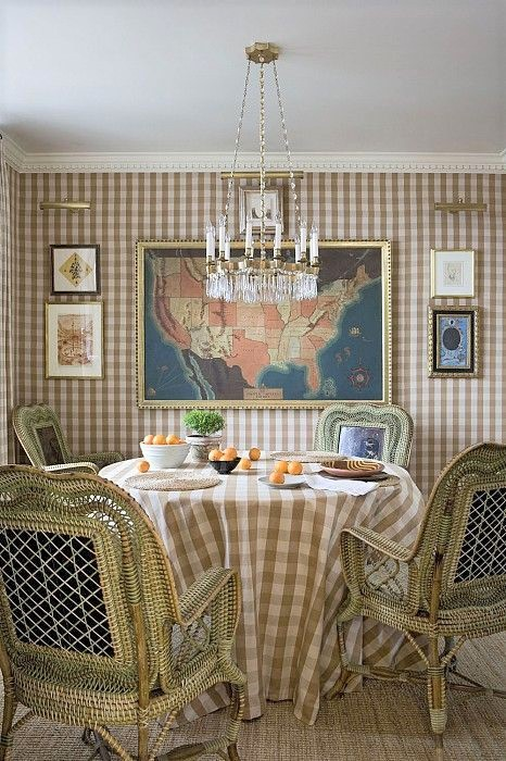 jeffrey bilbhuber home decorated with gingham