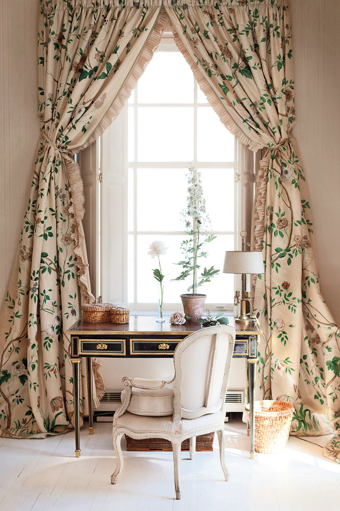 Deeda Blair bedroom with handpainted French curtains