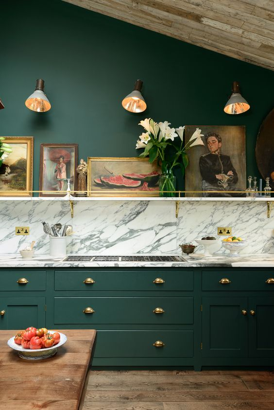 Devol kitchens green cabinets