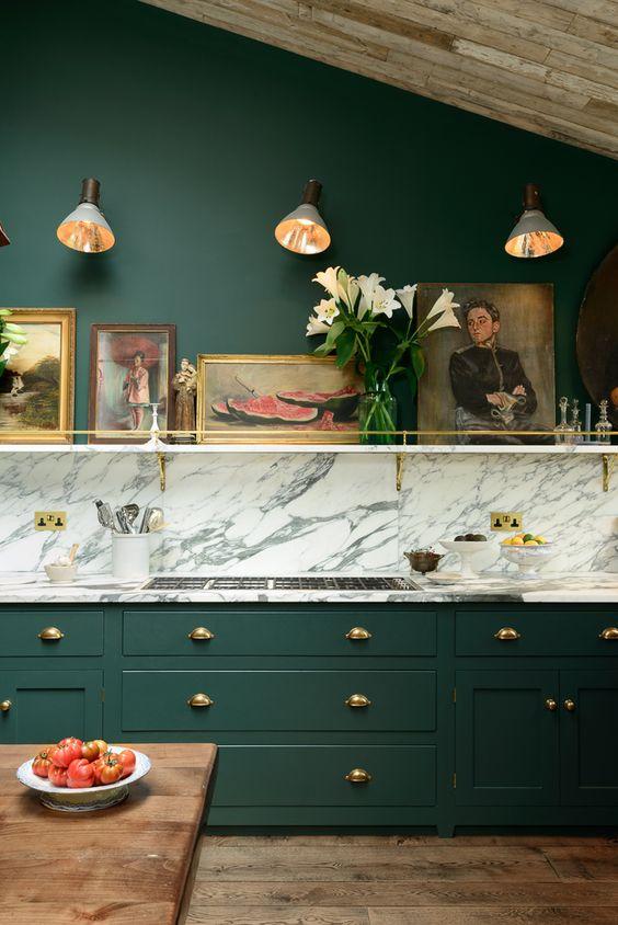 Devol kitchens green cabinets