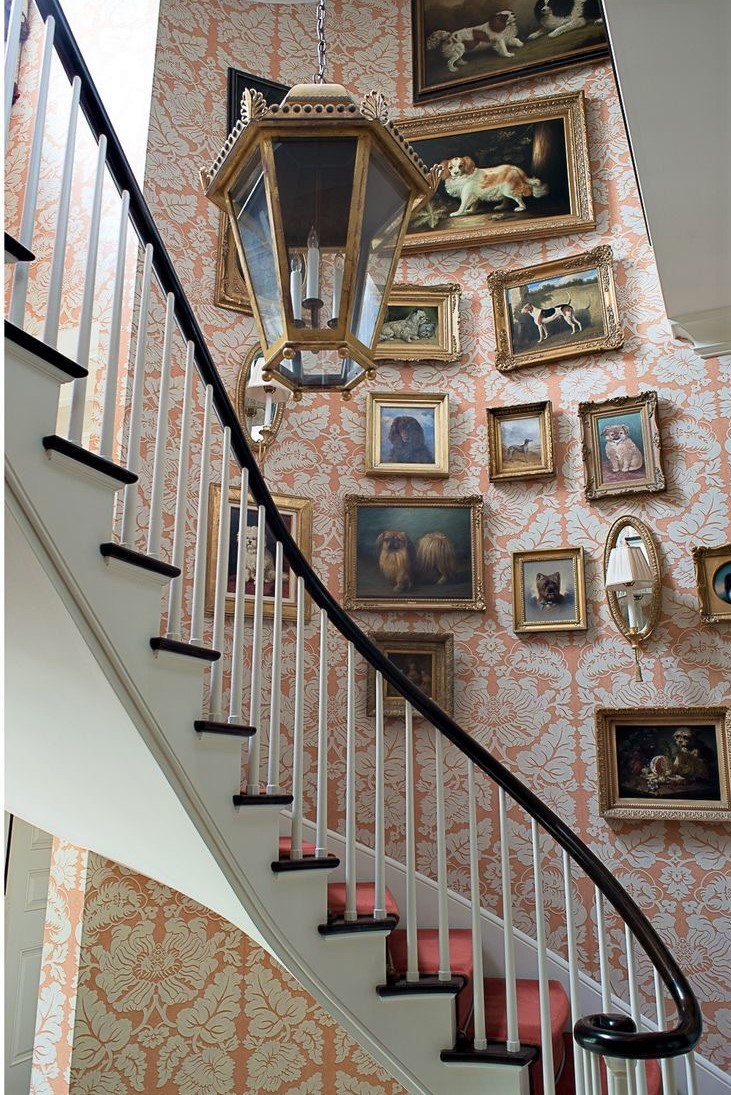 Dog artwork staircase