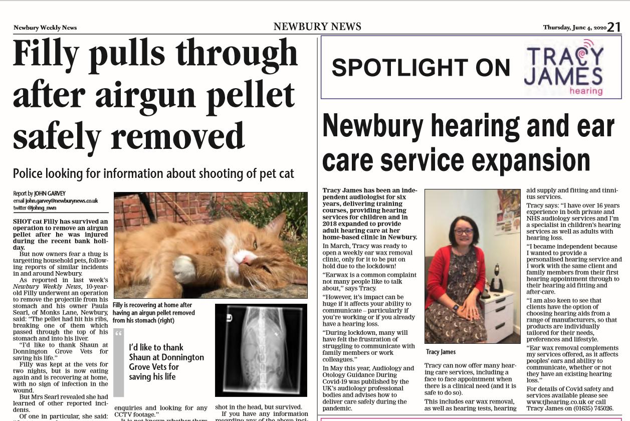 Tracy James in Newbury Weekly News