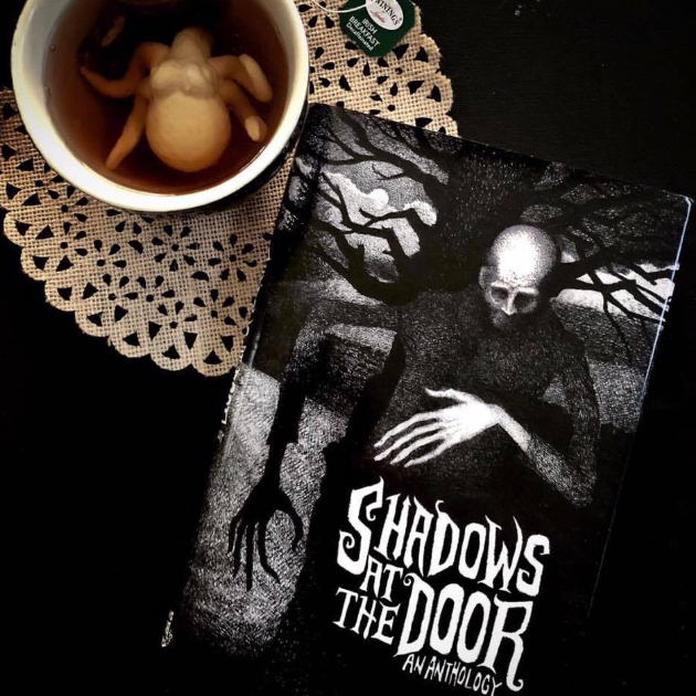 shadows at the door book on table with cup of tea