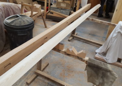 The side rails having the finished applied. SASPOONER