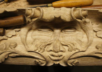 """The """"Green man """" carving in the centre of the apron lining. SASPOONER"""