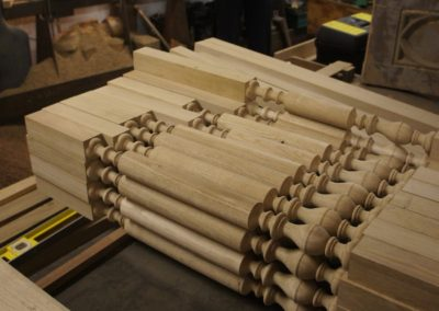 Oak spindles for the Grade 1 staircase project before carving the barley twists.  SASPOONER
