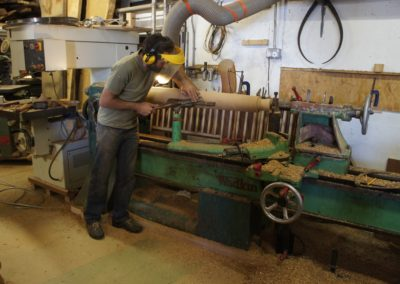 Stephen hand turning the English Oak hand posts.  SASPOONER