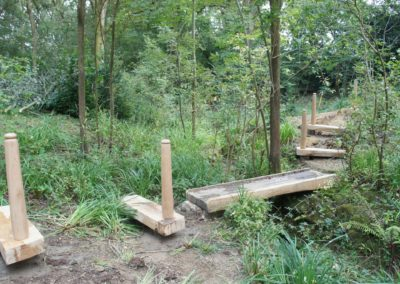 The small bridge ,now in place . the main walking surface will be planted. SASPOONER