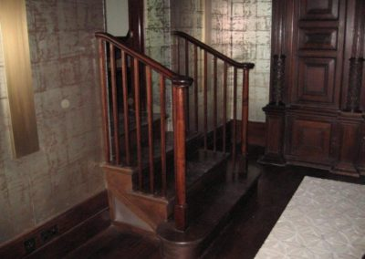 Oak Cut String Staircase with turned Newel posts and Bull nose step as part of a grade 2 listed remodel SASPOONER