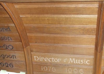 Hurst Collage,Sussex. Organ case Memorial  Carving In situ. Letters to match existing fonts and the painted. SASPPONER