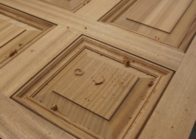 A 5 Panel door close up of the raised and fielded panels made in Seaple.SASPOONER